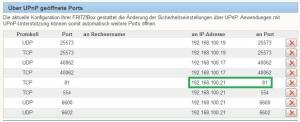 neueFWeinspielen6_falsche Portzuordnung in Fritzgelöscht_danach korrekte Zuordnung über upnp